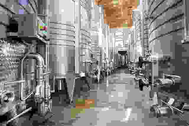 Modern aluminum barrels for wine